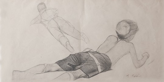 Study of Two Boys Lying on the Ground - James Cowie RSA
